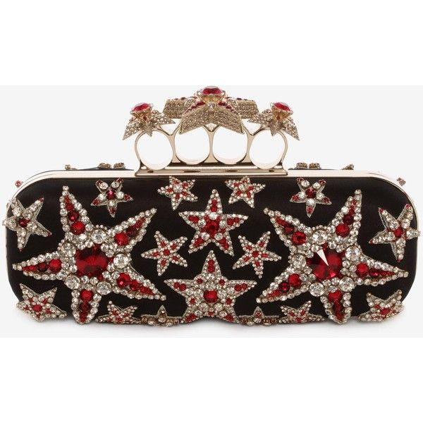 Alexander McQueen Star Embroidered Knuckle Box Clutch (€1.585) ❤ liked on Polyvore featuring bags, handbags, clutches, hard clutch, handbag purse, man bag, alexander mcqueen and embroidered purse
