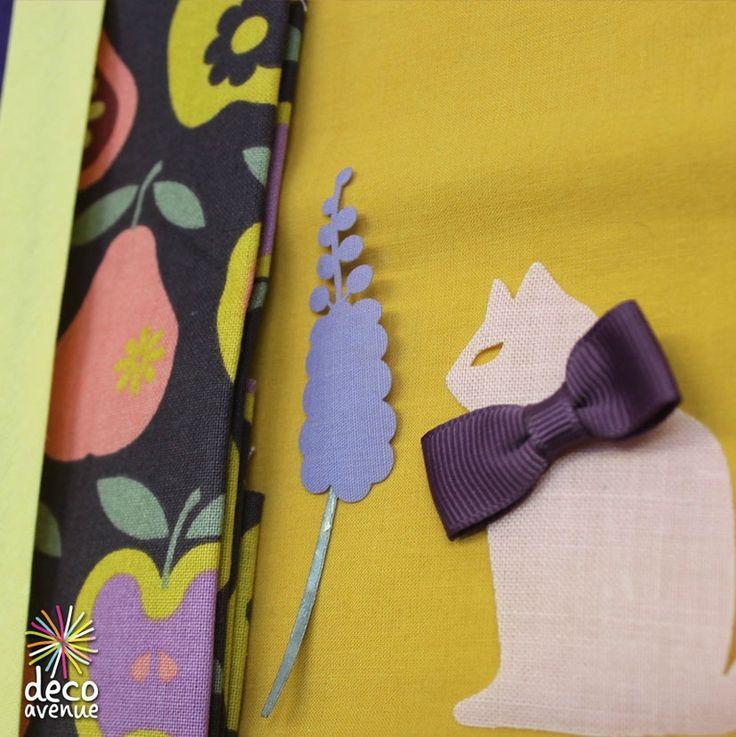 Tissu Rico design pommes/ poires,  décors thermocollant pour appliqué, Biais assortie.