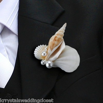 Seashell-Boutonniere-Beach-Weding-Boutonniere-Grooms-Groomsmen-Boutonniere