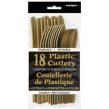Gold Plastic Cutlery Set for 6 Guests (18pcs)