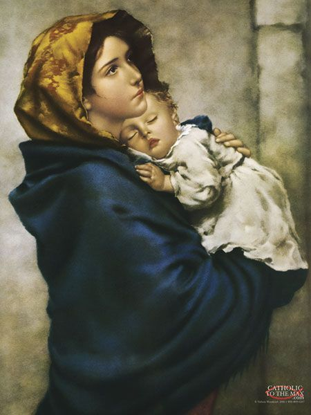 "One of the most beloved images of Our Lady, ""Madonna of the Streets"" depicts a youthful Mary holding the Child Jesus close to her heart. <3"