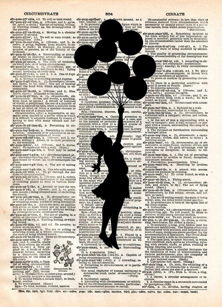 Banksy, girl with Balloons Print of acclaimed street artist Banksy, thought provoking and powerful. These unique and original artwork are printed on authentic vintage early 1900's dictionary paper fro