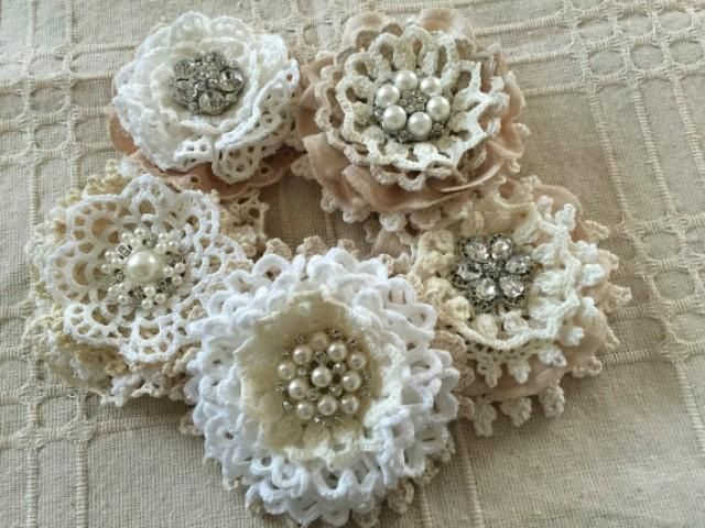 5 shabby chic vintage lace handmade flowers I made these flower lace with vintage cotton lace doilies, eylet lace trim and metal rhinestone - pearl buttons. approximately 3'' - 3.5'' ***Shabby chic lace flowers are perfect for any kind of embellishing.