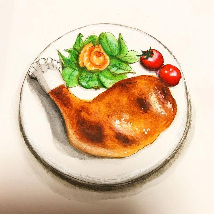 毎年定番クリスマスチキン  ヘルシオオーブンのおかげで毎年美味しくできる    #midoritravelersnotebook#travelersnotebook#travelersnote#note#doodle#絵日記#日記#手帳#トラベラーズノート#food#instaartist#sketch#Japanese#クリスマス#Illustrator#illustration#イラスト#水彩#illust#チキン#draw#drawings#ごはん#artwork#おうちごはん#料理#art#diary#スケッチ#絵