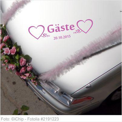 Autoaufkleber Hochzeit - Gäste mit Datum