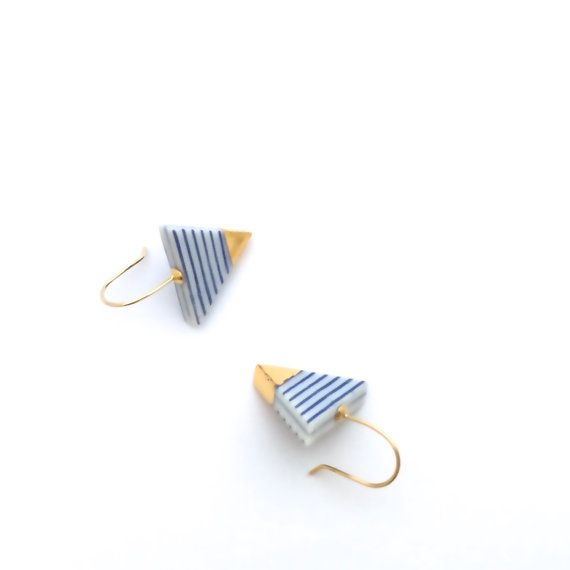 Blue and white Porcelain earrings, gold ceramic jewelry, nautical earrings, Triangle earrings, Summer earrings, OeiCeramics