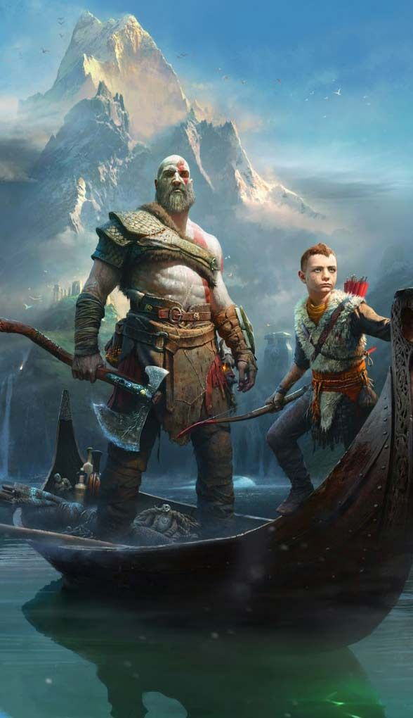 God of War Kratos and Atreus - Game desktop wallpaper.