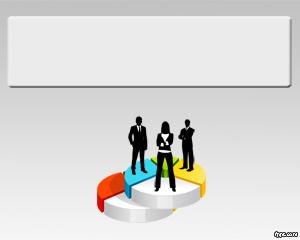 hEjecutivo Plantilla de PowerPoint con fondo gris y gráficas con personas de negocios
