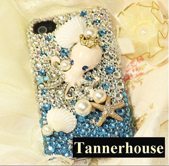 FREE Phone case DIY Deco set kits decoden rivet bling handmade decoration cutie package gift accessories luxury gem iPhone rhinestone ocean