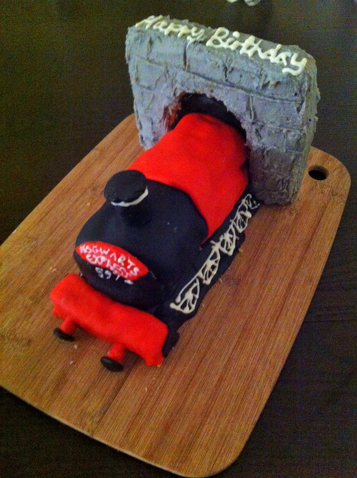 Harry Potter Hogwarts Express Train Cake - Featuring a peanut butter filled swiss roll