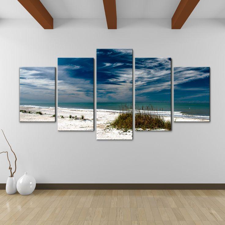 Bruce Bain 'Silent Beach' 30x60 inch Canvas Wall Art (5-Pc set)