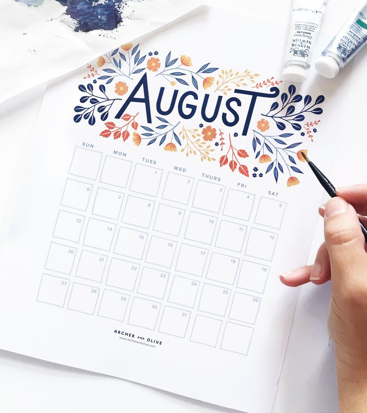Free August 2017 Printable Calendar from Archer and Olive.