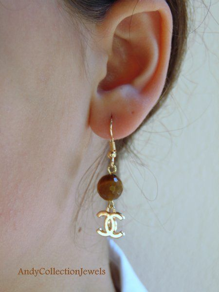 Pleasing Tiger Eye Dangling Earrings with Replica CC or LV Charm, Gift for Her Jewelry