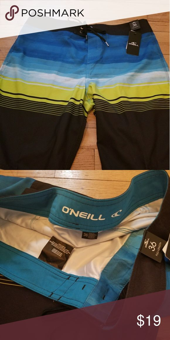 Men's {O'Neill} SwimTrunks Brand New! Men's full length board short swim trunks. One pocket on the back, size 36. O'Neill Swim Board Shorts