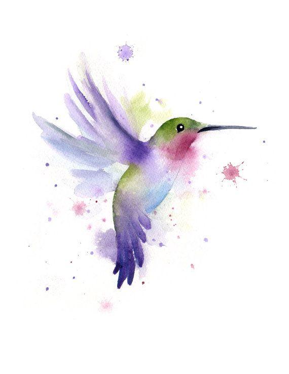 Hummingbird Art Print – Watercolor Painting –  – Signed by Artist DJ Rogers – Wall Decor