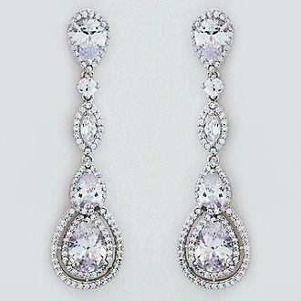CZ Jewelry by Jascott. Bridal jewelry, evening jewelry. Long CZ bridal earrings dazzle with an array of teardrops and marquis cut CZs. Classic bridal jewelry.