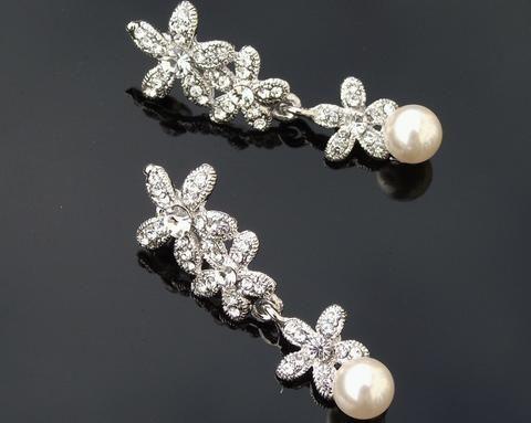 Wedding Earrings - Vintage Style Crystal And Pearl Earrings, Petal