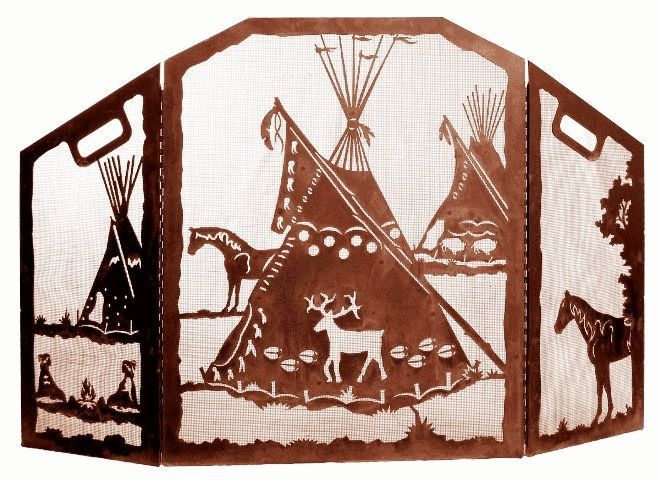 Indian Tepee (Tipi) Village Scenic Southwest 3 Panel Fireplace Screen of heavy recycled steel by ironwood industries southwestern decor fire screen