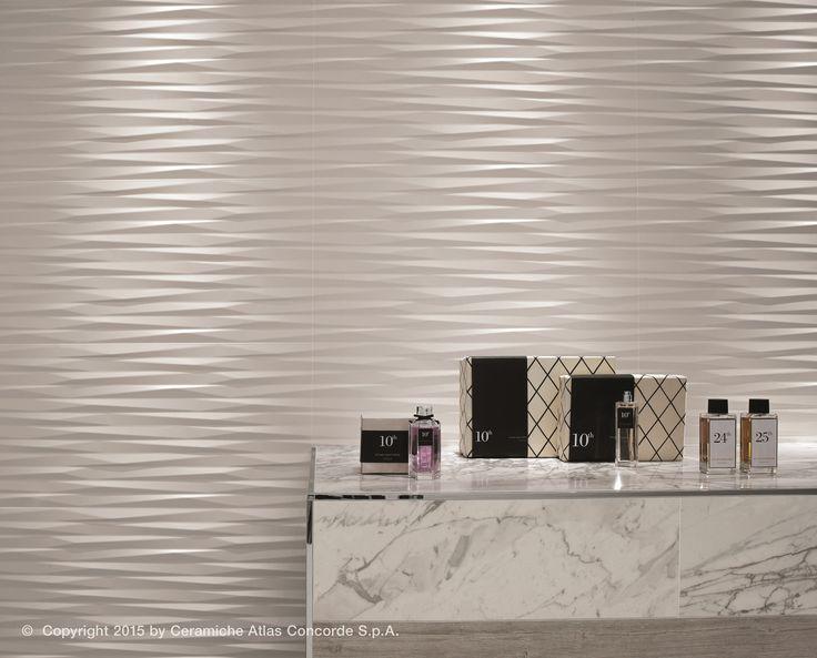 rev tement mural 3d en c ramique p te blanche blade by atlas concorde chambre d 39 h tel. Black Bedroom Furniture Sets. Home Design Ideas