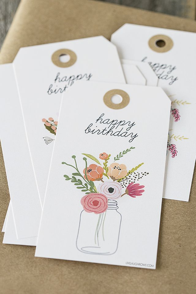Free printable birthday gift tags. http://livelaughrowe.com/printable-birthday-gift-tags/