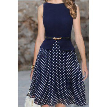 $18.04 Trendy Sleeveless Round Collar Belt Design Polka Dot Print Knee-Length Dress