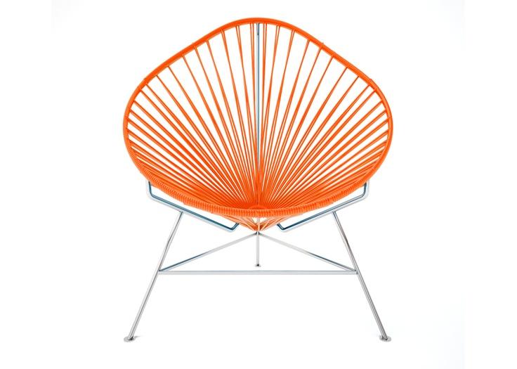 475 Acapulco Chair - Chrome Frame with Orange Weave