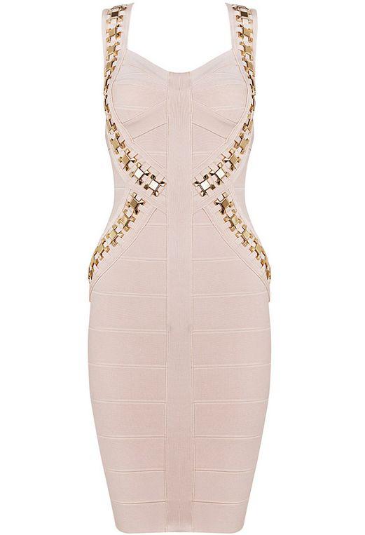 Pink Spaghetti Strap Rivet Bandage Dress