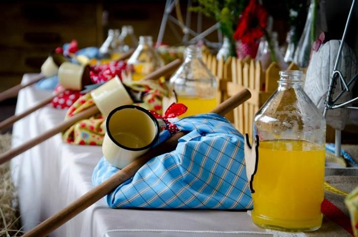 Place settings / nap sacks for a Vintage Farm Party. the grandkids would love this!