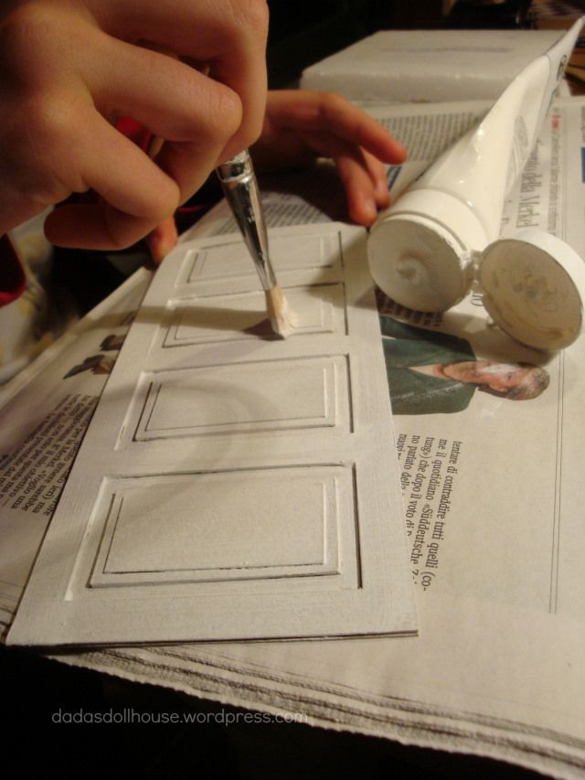 Layered cardboard wall paneling for doll house! DIY