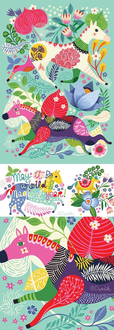 Wild horses - my new favourite 'Happy Birthday' card I did for Roger la Borde .