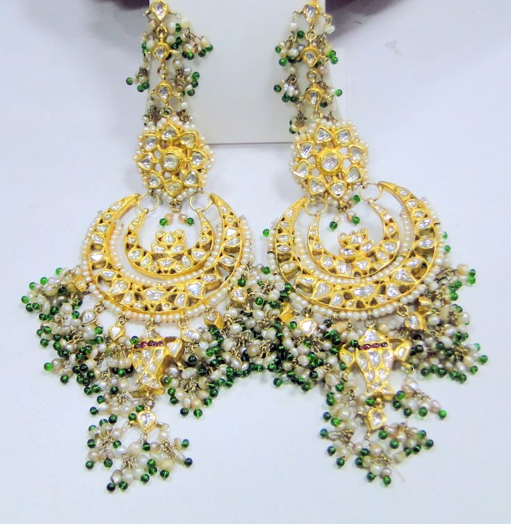 Vintage Antique 20 Ct Solid Gold Diamond Polki Earrings Kundan Meena Work