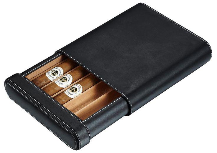 Visol Ренн черный кожаный портсигар - Вмещает 5 сигары
