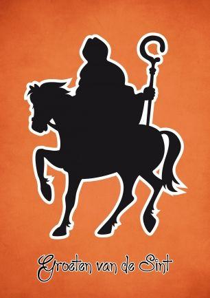 Wenskaart, Groeten van de Sint (oranje-rood)