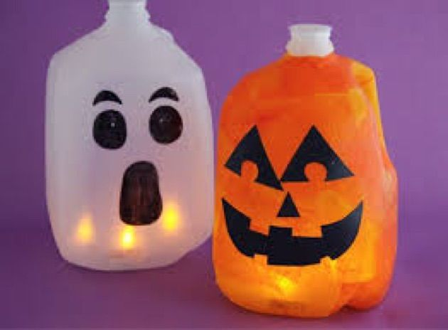 use recycled milk jugs for these ghost and jack o lantern crafts to light up a spooktacular night need milk jug sharpie glow stick water orange