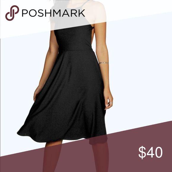 Mary Strappy Backless Midi Skater Dress US size 12. Boohoo Dresses Midi