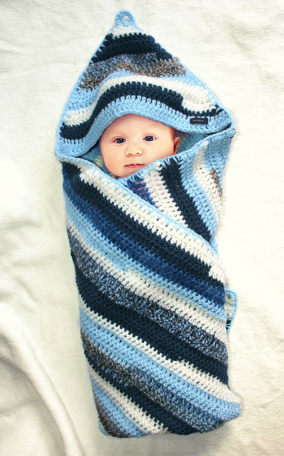What a clever idea, wish I'd come up with this one!  Crocheted hooded striped blue baby blanket