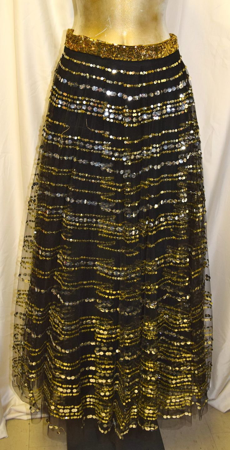 Vintage Black with Gold Sequin Long Skirt
