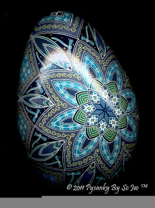 Midnight Flight of the Dragonfly Ukrainian Easter Egg Pysanky By So Jeo