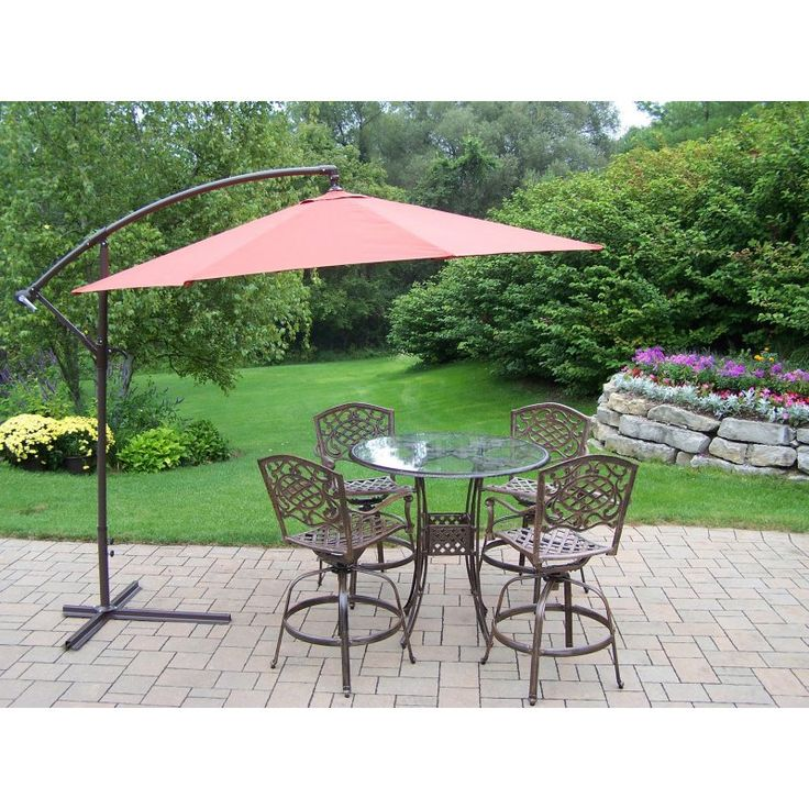 Oakland Living Hummingbird Mississippi Cast Aluminum Swivel Patio Bar Set  With Cantilever Umbrella   Seats 4