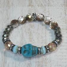 Boho Chic Howlite Skull w/ Czech and Semi Precious Beads Stretch Bracelet
