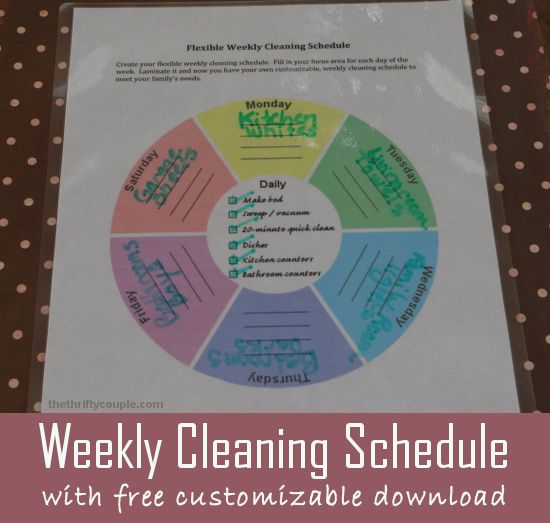 """Download a printable and customized cleaning schedule that allows you to make it work for your tasks.  It is in a fun wheel shape with your daily tasks and then your """"focus"""" areas for each day of the week!"""
