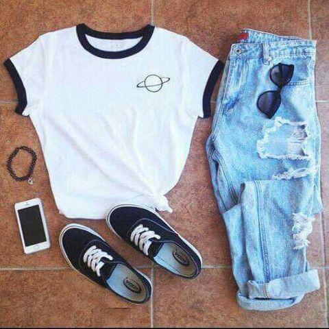 Saturn Black and White Ringer T shirt