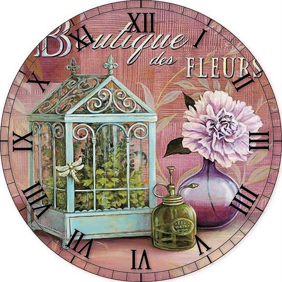 MI BAUL DEL DECOUPAGE: ...Y SE PASÓ FEBRERO... Clock with birdcage and flower