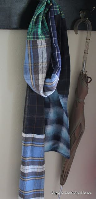 Beyond The Picket Fence: Cozy Flannel  Scarf Made from Thrift Store Shirts