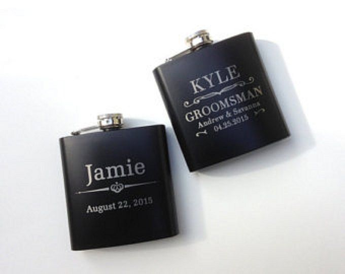 This listing is for ONE or MORE flasks, personalized with any one of the above engraving designs.  Flask Gift Box Sets include a black gift box with engraved flask and a stainless steel funnel. SPECIFICATIONS: 3-1/2 wide x 4 tall; Holds 6 ounces of liquor; Food grade stainless steel;   SPECIFICATIONS for gift box upgrade Gift Box is 5-1/2 wide, 6-3/4 tall; Includes flask Stainless Steel Funnel PERSONALIZATION: We will laser-engrave the front side of each flask with your persona...