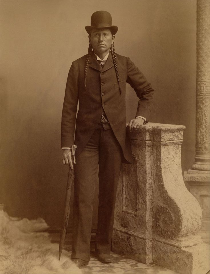An old photograph of Quanah Parker in Occidental Dress - Comanche c1890.