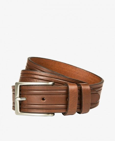 Genuine leather belt, Made in Italy, with square metal buckle, double loops and Navigare logo | Navigare