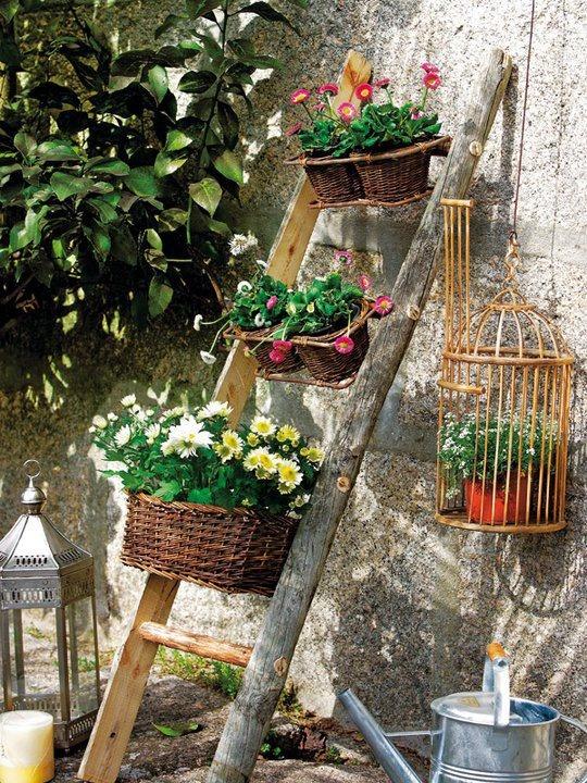 plantas escaleras terrazas balcones canastas interiores jardines verticales ideas originales macetas originales