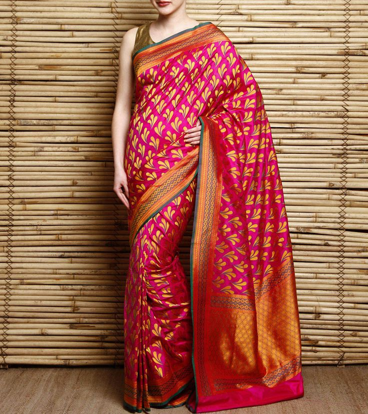Pink Embroidered Pure Silk Saree