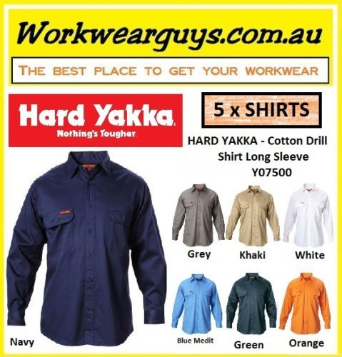 HARD-YAKKA-WORKWEAR-5-x-Original-Cotton-Drill-Work-Shirt-Long-Sleeve-Y07500